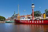"Museum ship ""Deutsche Bucht"", Ratsdelft, town hall, Emden,  East Friesland, Lower Saxony, Germany"