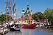 Museum ships, Ratsdelft, town hall, Emden,  East Friesland, Lower Saxony, Germany