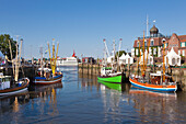 Fishing cutter in the harbour, Neuharlingersiel, East Friesland, Lower Saxony, Germany