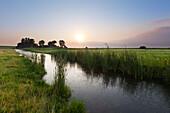 Tidal creek at the salt marsh near Pilsum lighthouse, near Greetsiel, East Friesland, Lower Saxony, Germany