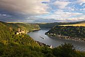 View from Rheinsteig hiking trail over Katz castle to Loreley, near St Goarshausen, Rhine river, Rhineland-Palatinate, Germany