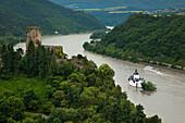 Gutenberg and Pfalzgrafenstein castle, near Kaub, Rhine river, Rhineland-Palatinate, Germany