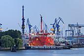 View from jetties  St.-Pauli-Landungsbrücken of port of Hamburg and Dock Blohm + Voss Elbe 17, Hanseatic City Hamburg, Northern Germany, Germany, Europe