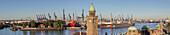 Jetties of St.-Pauli-Landungsbrücken with tower Pegelturm, in the background port of Hamburg, Hanseatic City Hamburg, Northern Germany, Germany, Europe