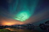 Northern lights, Aurora borealis, over Vestvagoya, Lofoten Islands, Norway, Skandinavia, Europe
