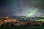 Northern lights and clouds, Aurora borealis, Flakstadoya, Lofoten Islands, Norway, Skandinavia, Europe