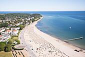 View over Travemuende, Travemuende, Travemuende Strand, Luebecker Bucht, Luebeck Bay, Ostsee, Baltic Sea, Schleswig Holstein, Germany