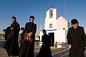 Greece, Saronic Gulf, Aegina Island, Aegina City, the small chapel of Agios Nikolaos, Romanian nun