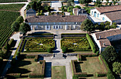 France, Gironde, Saint Estephe, the wine-growing estate of Chateau Calon-Segur in the Medoc region (aerial view)