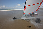 France, Manche, Cotentin, La Hague, Vauville, sand yachting on the beach