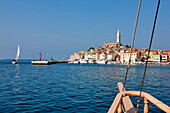Croatia, Istria, Adriatic Coast, the city of Rovinj dominated by the church of St. Eufemia in baroque style