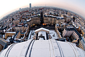 France, Paris, general view of Paris from the Val-de-Grâce dome snow-covered