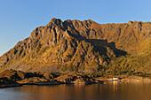 Norway, Nordland County, Lofoten Islands, coast at North Svolvaer at the end of Raftsundet