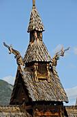 Norway, Sogn Og Fjordane County, Borgund, wooden stave church called stavkirker or stavkirke built in 1130, Viking motives of the Pre-Christian Era