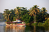 India, Kerala State, Allepey, the backwaters, a public ferry linking the villages along the canals