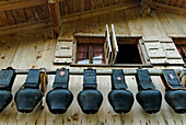 Switzerland, Bern region (Bernese Oberland), Gstaad, the cow's bells of Alp Turnels altitude chalet