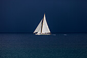 'Classic Sailing Yacht  facing an oncoming storm, Classic Sailing Regatta ''Régates Royales'', Cannes, Cotes d'Azur, France'