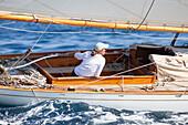 'Yacht ''Eva'', Naval Architect William Fife III 1906, Classic Sailing Regatta ''Les Voiles de St. Tropez'', St. Tropez, Côte d'Azur, France'