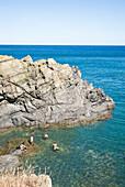 Snorkeling along the rocky coast, Cap de Ras, Llançà, Girona, Costa Brava, Mediterranean Sea, Catalonia, Spain