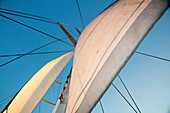 Sails aboard motor sailing cruise ship M/S Panorama (Variety Cruises), Adriatic Sea, near Albania