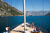 Bow of motor sailing cruise ship M/S Panorama (Variety Cruises) in Kotor fjord, near Kotor, Montenegro