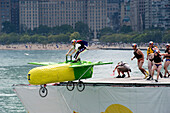 'United States, Illinois, Chicago, The Red Bull Flugtag is an annual fun event sponsored by Red Bull that takes place on the Lake Michigan. All sorts of so called flying objects have got to fly as far as they can; here the corn of Go Shuck Yourself from A
