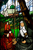 Canada, Quebec Province, Quebec City, Ursulines Chapel, stained glass window with a nun and Amerindians