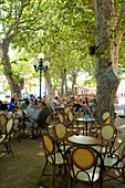 France, Haute Corse, Ile Rousse, Place Paoli, Cafe terrace