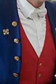 France, Alpes Maritimes, Nice, Negresco Hotel on the Promenade des Anglais, close up on the porter uniform