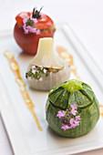 France, Var, Tourrettes, farcis provencaux (stuffed vegetables typical of Provence), Phillipe Jourdin's recipe, Faventia Restaurant of the Domaine de Terre Blanche-Four Seasons Resort