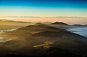 View from the Belchen south on the Wiesental valley and the Swiss Alps, morning atmosphere with fog, autumn, Black Forest, Baden-Wuerttemberg, Germany