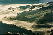 View from the Belchen south on the Wiesental valley, morning atmosphere with fog, autumn, Black Forest, Baden-Wuerttemberg, Germany
