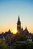 Freiburg Cathedral, sunset, Freiburg im Breisgau, Black Forest, Baden-Wuerttemberg, Germany