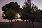 People enjoy dinner at picnic table near beach at dusk, near Port d'Alcudia, Mallorca, Balearic Islands, Spain