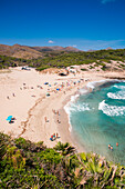 People relax and swim at Cala Torta beach, near Arta, Mallorca, Balearic Islands, Spain