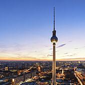 Berlin TV Tower ( Fernsehturm ) at Alexanderplatz East Berlin Germany