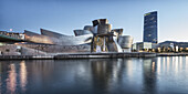 Panorama of Guggenheim Museum Bilbao , museum of modern and contemporary art , architect Frank Gehry , Nervion river, Bilbao, Basque Country, Spain (editiorial only)