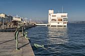 Art sculpture LOS RAQUEROS at port PUERTO CHICO in Santander northern Spain, Santander, Cantabria, Spain