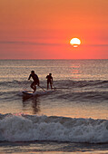 Silhouette of men paddleboarding on ocean waves