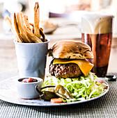 Hamburger, french fries and beer