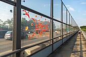 A1 Rhine bridge Leverkusen, German Autobahn, traffic, pedestrian path, graffiti, red, noise barrier, motorway, Highway, freeway, speed, speed limit, traffic, infrastructure, Germany