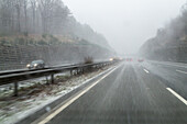German Autobahn, snow, sleet, driving, visibility, weather conditions, winter, windscreen, motorway, freeway, speed, speed limit, traffic, infrastructure, Germany