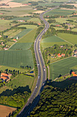 aerial, German Autobahn, A2,  landscape, route, motorway, highway, freeway, speed, speed limit, traffic, infrastructure, Germany