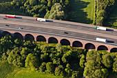 Aerial A 2, German Autobahn, arched bridge, motorway, freeway, speed, speed limit, traffic, infrastructure, Arensburg, Germany
