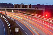 night lights, light trails, streaks, motion, German Autobahn, radar, motorway, highway, freeway, speed, speed limit, traffic, infrastructure, near Peine, Germany
