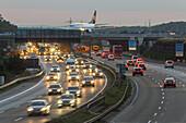 German Autobahn, plane crosses above A 3, Frankfurt Airport, motorway, highway, freeway, speed, speed limit, traffic, infrastructure, night, Frankfurt, Germany