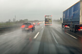 German Autobahn, A4, driving, rain, spray, visibility, windscreen, weather conditions, motorway, highway, freeway, speed, speed limit, traffic, overtaking lane, infrastructure, Germany