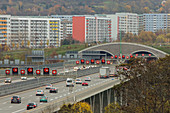 German Autobahn, A4, electronic warning signs, roadworks, construction site, tunnel, cars, motorway, highway, freeway, blocks of flats, speed, speed limit, traffic, infrastructure, Jena, Germany