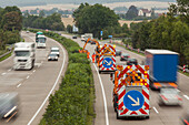 German Autobahn, A 7, motorway maintenance, hedge and verge trimming, safety measures, freeway, speed, speed limit, traffic, job, danger, infrastructure, Germany