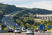 German Autobahn, A 7, high speed train lines, pillars, supports, forest, green, railway, motorway, highway, freeway, speed, speed limit, traffic, infrastructure, intersection, Kirchheim, Germany